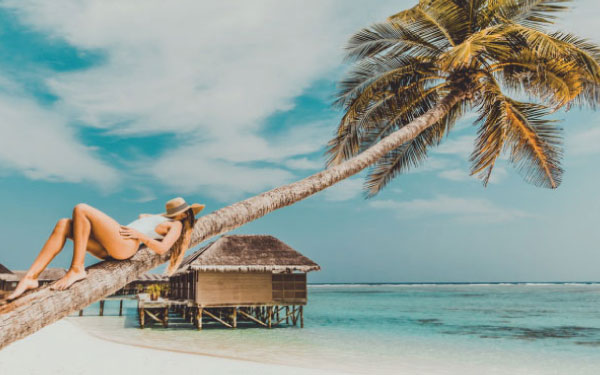 A young lady laying on a palm tree on a beach