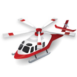 Red and White Helicopter